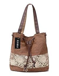 Tibes Vintage Canvas Shoulder Bag Lightweight Shopping Bag Handbag for Women