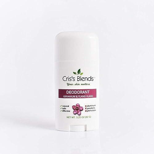 Natural Deodorant, Geranium & Ylang Ylang, 3.25oz, Aluminum Free, Vegan and Cruelty Free, Cris's Blends