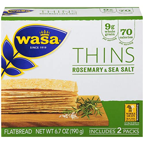 Wasa Flatbread Thins, Rosemary and Sea Salt, 6.7 Ounce (Pack of 10) ()
