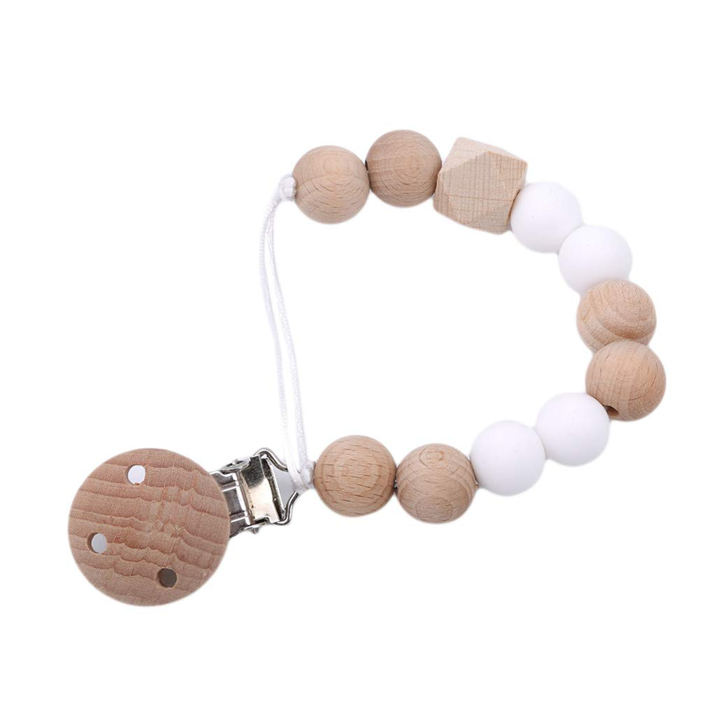 HAOWANG Pacifier Clip Wooden Chew Beaded Molar Toy Pacifier Anti-Drop Chain Baby Care White