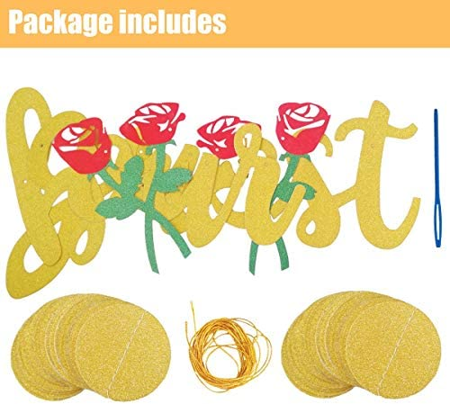 Be Our Guest Gold Sign Banner, Reception Banner for Beauty And The Beast Party Bridal Shower Favor Supplies for Wedding Engagement Bachelorete Party Baby Shower Birthday Party Housewarming Decorations