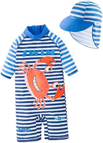 6d412e080b Toddler Boys One Piece Cute Swimsuit Kids UV Sun Protective Short Sleeve  Bathing Suit Surfing Suit