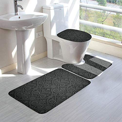 JJLIN Antique Baroque Mild Ombre Gothic Bathroom Rug 3 Pieces Anti-Slip Water Absorben U-Shaped Toilet Mat Toilet Seat Cover Decorative Doormat