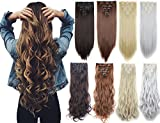 3-5 Days Delivery 7Pcs 16 Clips 23-24 Inch Thick Curly Straight Full Head Clip in on Double Weft Hair Extensions 9 Colors offers
