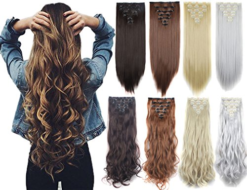 3-5 Days Delivery 7Pcs 16 Clips 23-24 Inch Real Thick Curly Straight Full Head Clip in on Double Weft Hair Extensions 9 Colors