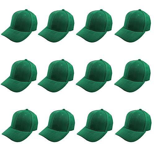 (Plain Blank Baseball Caps Adjustable Back Strap Wholesale LOT 12 Pack- 001-Kelly Green)