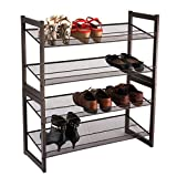 LANGRIA Metal Mesh Utility Shoe Rack Shoe Tower Shelf Storage Organizer Cabinet for Entryway Closet Living Room Bedroom,Bronze Color (4-Tier)