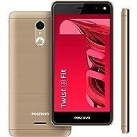 Smartphone Positivo Twist 3 Fit: 32 GB Tela de 5'' Processador Quad-Core Câmera frontal de 5MP e traseira de 5MP Dual Chip Android™ Oreo™, Dourado