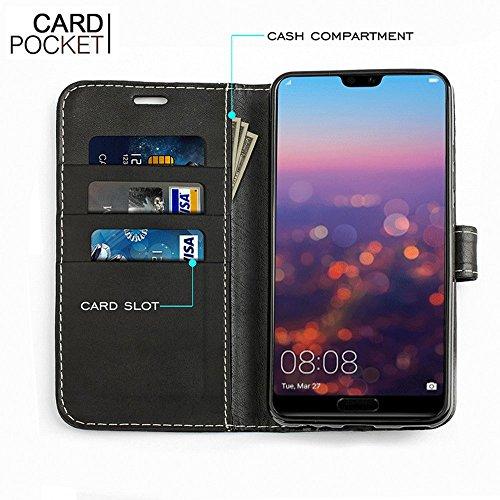 Estuche Huawei P20 Pro, KingShark [Función de soporte] Estuche Protector Huawei P20 Pro, Cubierta de Estuche de Cuero Con Tapa de PU Premium Con Ranuras Para Tarjetas Integradas y Soporte Para Huawei  Negro