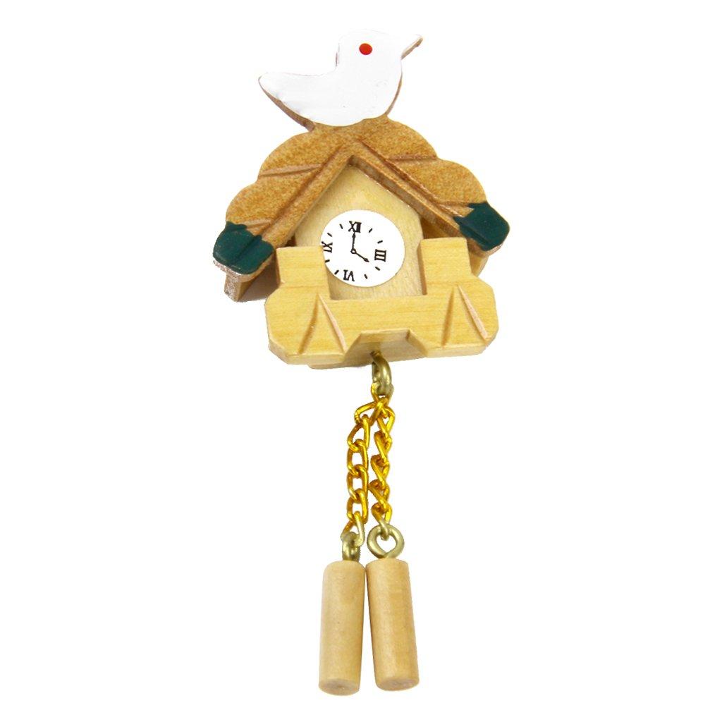 1/12 Casa de Muñecas en Miniatura Reloj de Pared Madera en Forma de Adorno Pájaro Dollhouse
