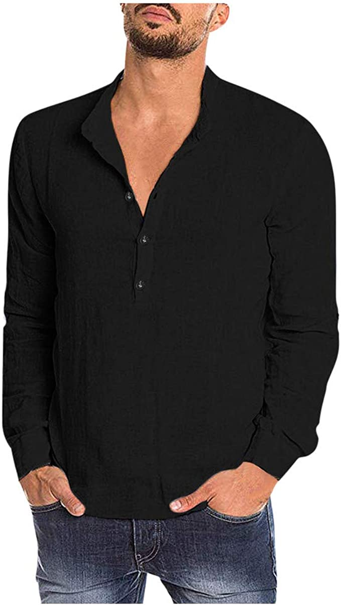 Generic Mens V Neck Casual Cotton Linen Long Sleeve Solid Plus Size Henley Shirts