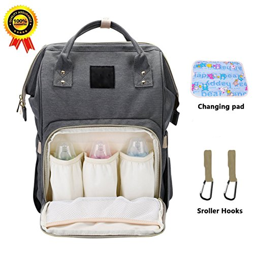 BRIGHTSHOW Diaper Bag Backpack Multi-Function Waterproof Travel Backpacks Organizer Bags for Baby Care, Large Capacity, Stylish and Durable with Changing pad/Stroller Hooks (Grey+Changing pad)