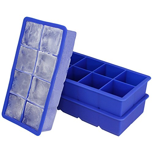 Freshware FI-112PK 8-Cavity Flexible Silicone Large Ice Cube Trays, 2-inch Cubes for Slow Melt and Less Drink Dilution (2 Pack)