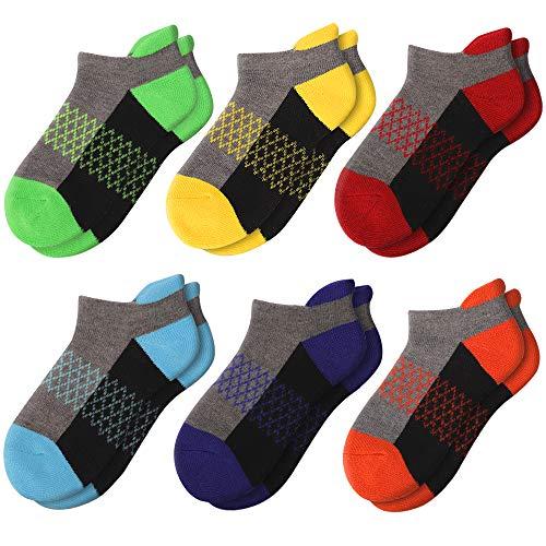 Comfoex Boys Socks 6 Pairs Ankle Athletic Sock Half Cushioned Low Cut Socks for Little Big Kids