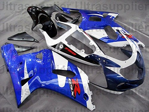 White Black w/ Blue Complete Injection Fairing for 2001-2003 Suzuki GSXR 600 750 by Tmsuschina