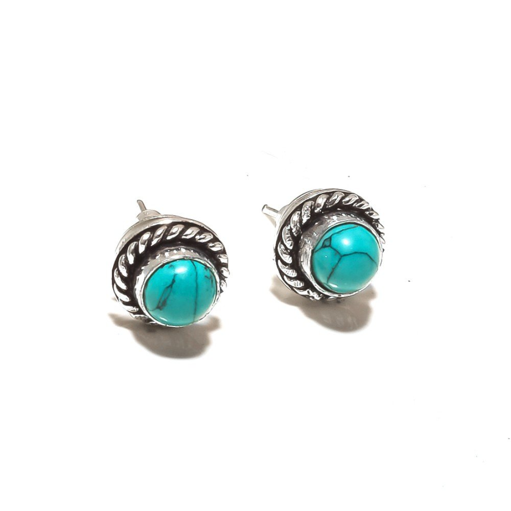 Blue Turquoise Sterling Silver Overlay 4 Grams Stud//Earring 10 mm Fantasy Jewelry