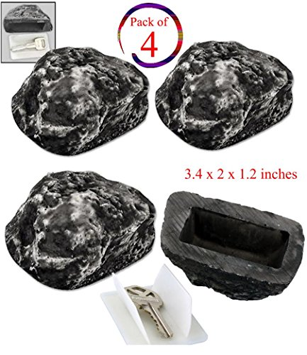 (Set of 4) Hide a Spare Key Fake Rock – Realistic Rock Outdoor Key Holder – Looks and Feels like Real Rock – Diversion Safe, - Rock Stores