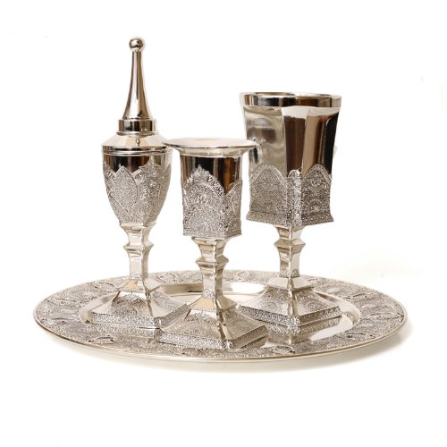 - Silver Plated Filigree Design Havdalah Set with a Kiddush Wine Cup, a Spice Box and Havdalah Candle