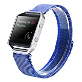 LANDFOX Milanese Magnetic Loop Stainless Steel Bands Strap Bracelet For Fitbit Blaze Blue