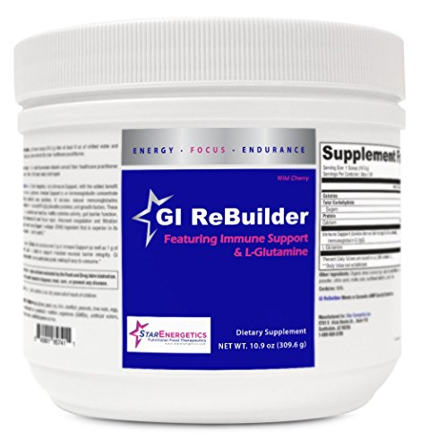 GI ReBuilder - Featuring Immune Support and L-Glutamine - 30 servings - Powder, Non GMO, Gluten Free, Fructose Free, Leaky Gut Repair, cGMP (Wild Cherry)