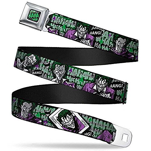Love Belt (Buckle-Down Seatbelt Belt - HARLEY QUINN Poses/Joker Love Grays/Black/White/Red - 1.5