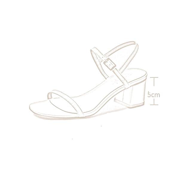 MUMA Escarpin Sandales d'été femmes milieu avec 2018 nouveau noir gris rose nu mots sauvages talons hauts romain épais talon chaussures pour femmes ( Couleur : Noir , taille : EU38/UK5.5/CN38 )