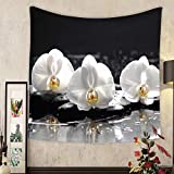 Madeleine Ellis Custom tapestry spa concept three white orchid with stones and wet background