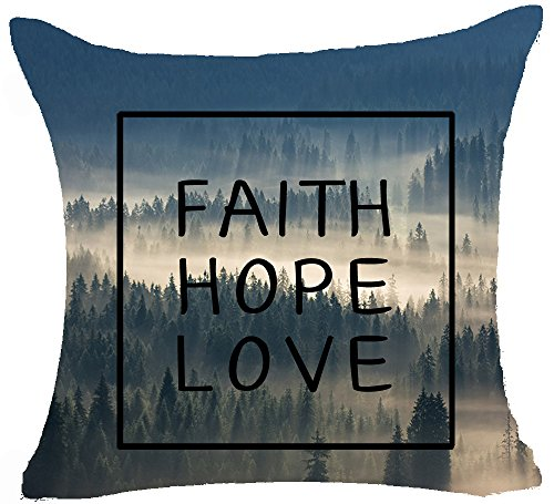 Andreannie Nordic Creative Design Modern Geometric Green Forest Animals Home Throw Pillow Case Personalized Cushion Cover Home Office Decorative Square 18 X 18 Inches Best (Faith Hope Love)