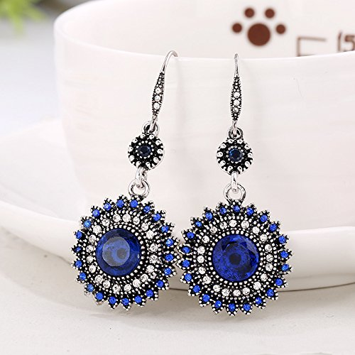 Women Girl Silver Plated Synthetic Turquoise Full Cubic Zirconia Blooming Flower Bridal Stud Hoop Hook Dangle Earrings-silver blue
