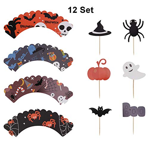 (Halloween Cupcake Decoration Set, Messar 12 Pcs Halloween Style Cupcake Wrappers and 12 Pcs Halloween Party Cupcake Toppers Picks Mini Pumpkin Spider Ghost Hat Bat Boo Pattern (Style A))