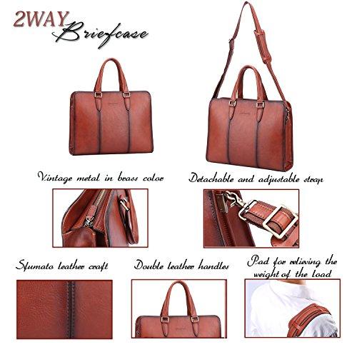 Banuce Vintage Full Grains Italian Leather Briefcase for Women Tote Handbag Attache Case 14 Inch Laptop Messenger Bag by Banuce (Image #3)