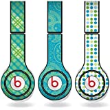 Green & Teal Different Pattern Set of 3 Headphone Skins for Beats Solo HD Headphones - Removable Vinyl Decal!