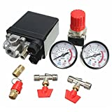 Hitommy Air Compressor Pressure Valve 180PSI Gauges Regulator Pump Control Switch