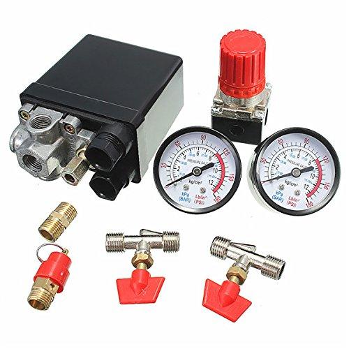 Hitommy Air Compressor Pressure Valve 180PSI Gauges Regulator Pump Control Switch