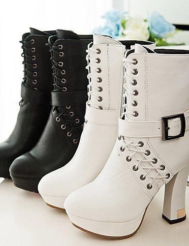 us6 Cn37 Uk4 Punta Zapatos Tacón 5 Vestido Black Moda Casual Eu37 De White 5 Negro Semicuero Eu40 La Spool Botas us9 Cn41 Uk7 Mujer A Xzz Blanco 5 Redonda 7 FACqwxBCX