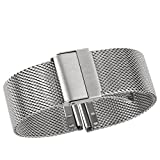 Luxury High-end Fashion Watch Mesh Band Metal Milanese Strap Deluxe Replacement Bracelet for Watch with Solid Safety Folding Clasp, 316L Stainless Steel, for Men & Women, Silver 21mm
