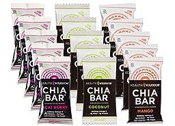 Health Warrior Chia sQLUG Bars, 5 Mango, 5 Chocolate Peanut Butter, 5 Acai Berry, 13.2-Ounce (Pack of 15) KEIqq