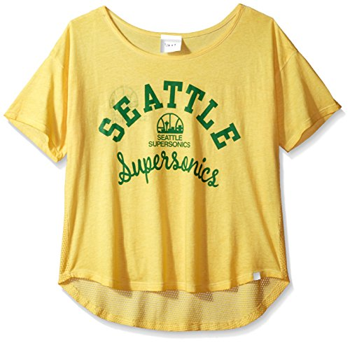 NBA Seattle Supersonics Adult Women Touch S Base Reversible Tee, Large, Gold