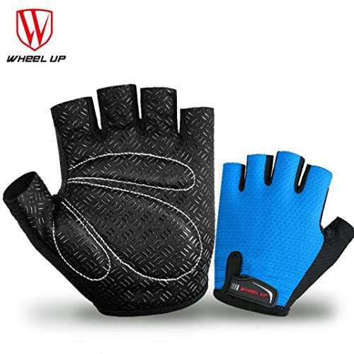 Price comparison product image Boofab Cycling Gloves Mountain Anti-skid Bike Gloves Road Racing Bicycle Gloves Light Silicone Gel Pad Riding Gloves Half Finger Biking Gloves Men / Women Work Gloves (Blue,  S)