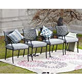 LOKATSE HOME 4 Piece Outdoor Patio Metal Wrought Iron Dining Chair Set with Arms and Seat Cushions, Grey