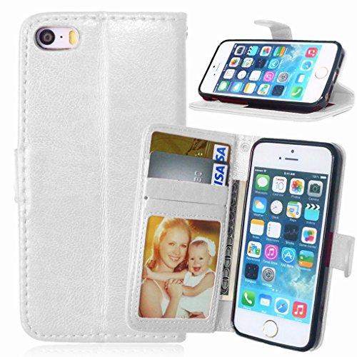 LEMORRY iphone 5 5s Flip Coque Etui, Unique Soft TPU Core + PU Cuir Portefeuille [Slot pour Carte] & [Cadre] Rabat Stand Magnétique Housse Fermeture Protecteur Bumper Pochette White