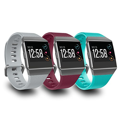 AIUNIT Compatible Fitbit Ionic Bands for Men Women Teens Kids Large with Smoke Gray Buckle, Replacement Strap Sport Accessory Wristband for Fitbit Ionic Smart Watch Gray Fuchsia Teal