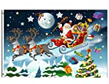 Wamika Winter Flag 4×6 FT Merry Christmas Santa Claus Reindeer Sled Snowy Xmas Tree Star Moon Garden Yard House Flags Banner with Brass Grommets Indoor Outdoor Party Home Christmas Decorations