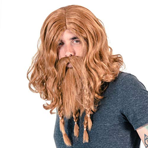 (Adult Men's Deluxe Viking Wig and Beard Costume Accessory)