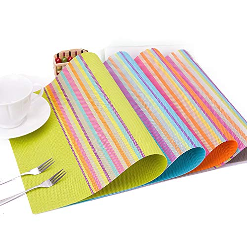 fantasticlife06 4Pcs/Lot PVC Placemat Dining Table Mats Table Bowl Pad Napkin Cup Dining Table Tray Mat Coasters for Christmas Party Table Set,Mixed Color (Mirror Table Mats)