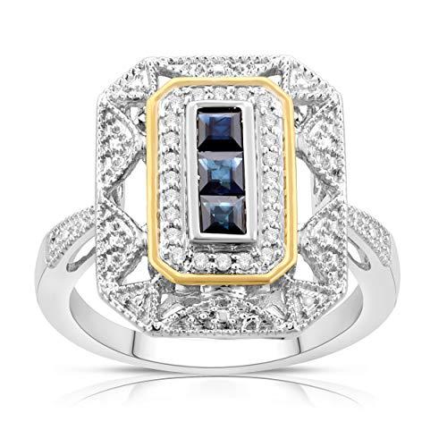 NATALIA DRAKE Vintage Art Deco Blue Sapphire and Diamond .50ctw Engagement Ring (5)