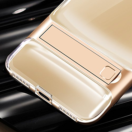 iPhone X Funda - Soporte Invisible a Prueba de Choques de Protección Transparente Carcasa para iPhone X - Gris Oro