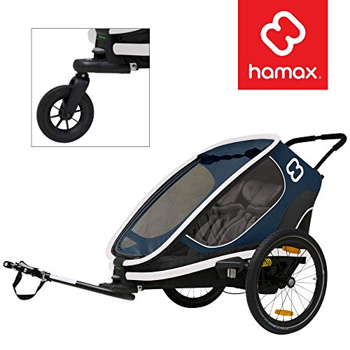 Hamax Outback Multi-Sport Child Bike Trailer + Stroller (Jogger Wheel Sold Separately) (Two Seats, Navy/White)
