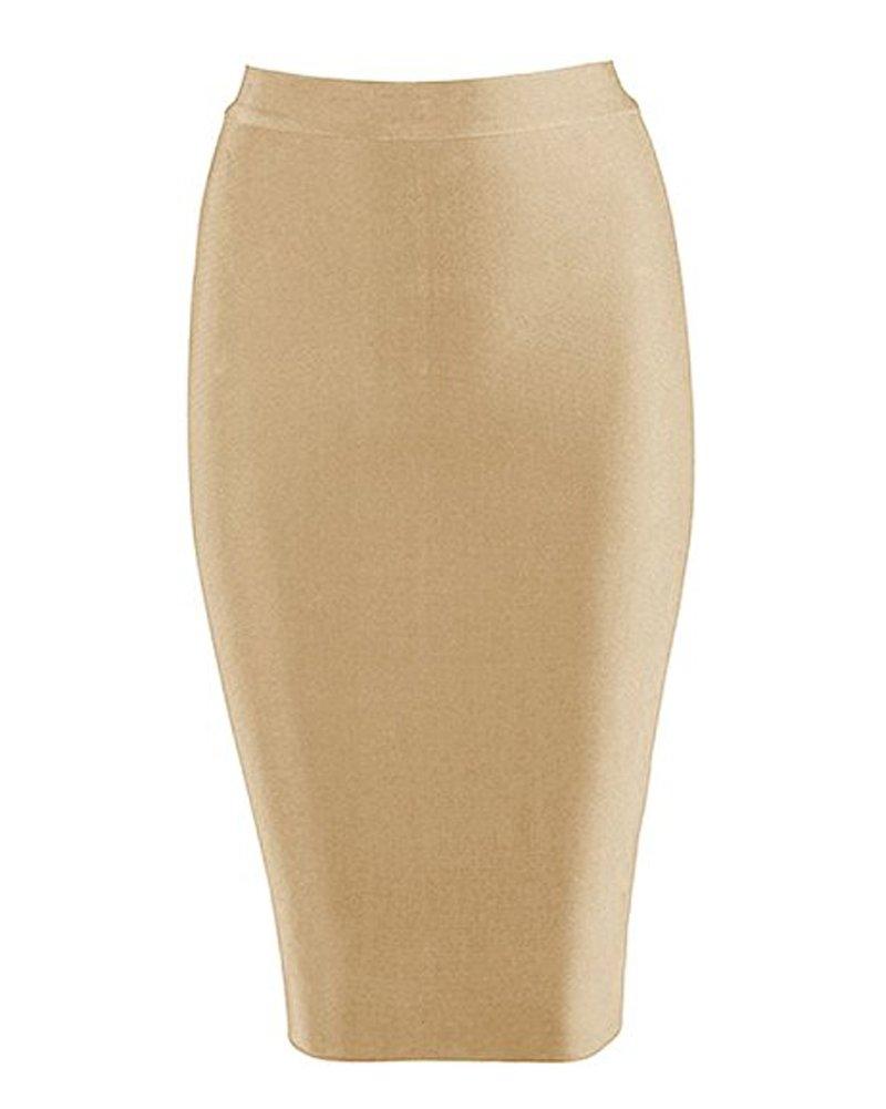 Whoinshop Women's Rayon Stretchy Bandage Pencil Midi Skirt Nude S