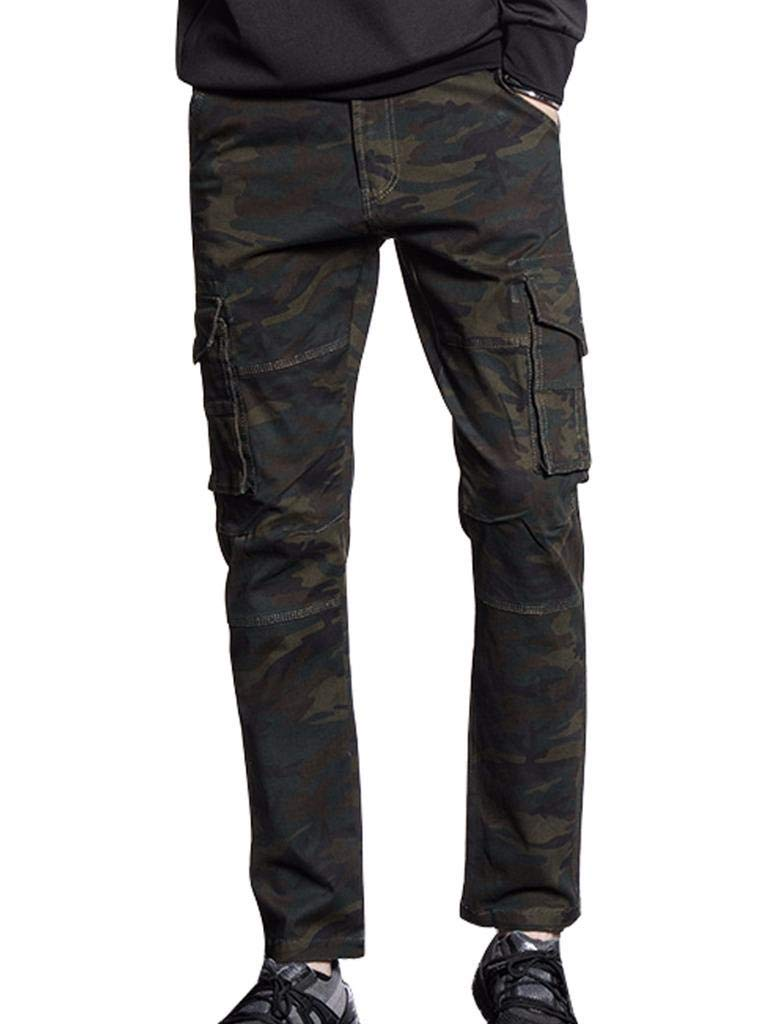 AKARMY Men's Loose Fit Cotton Casual Work Twill Military Camo Cargo Pants BDC8718 ArmyGreen Camo 38